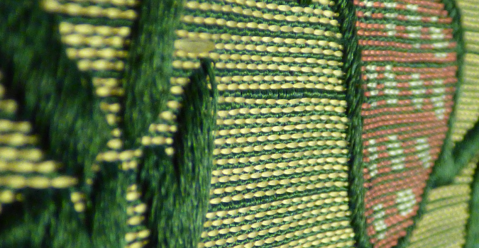 Brocatel silk textile detail